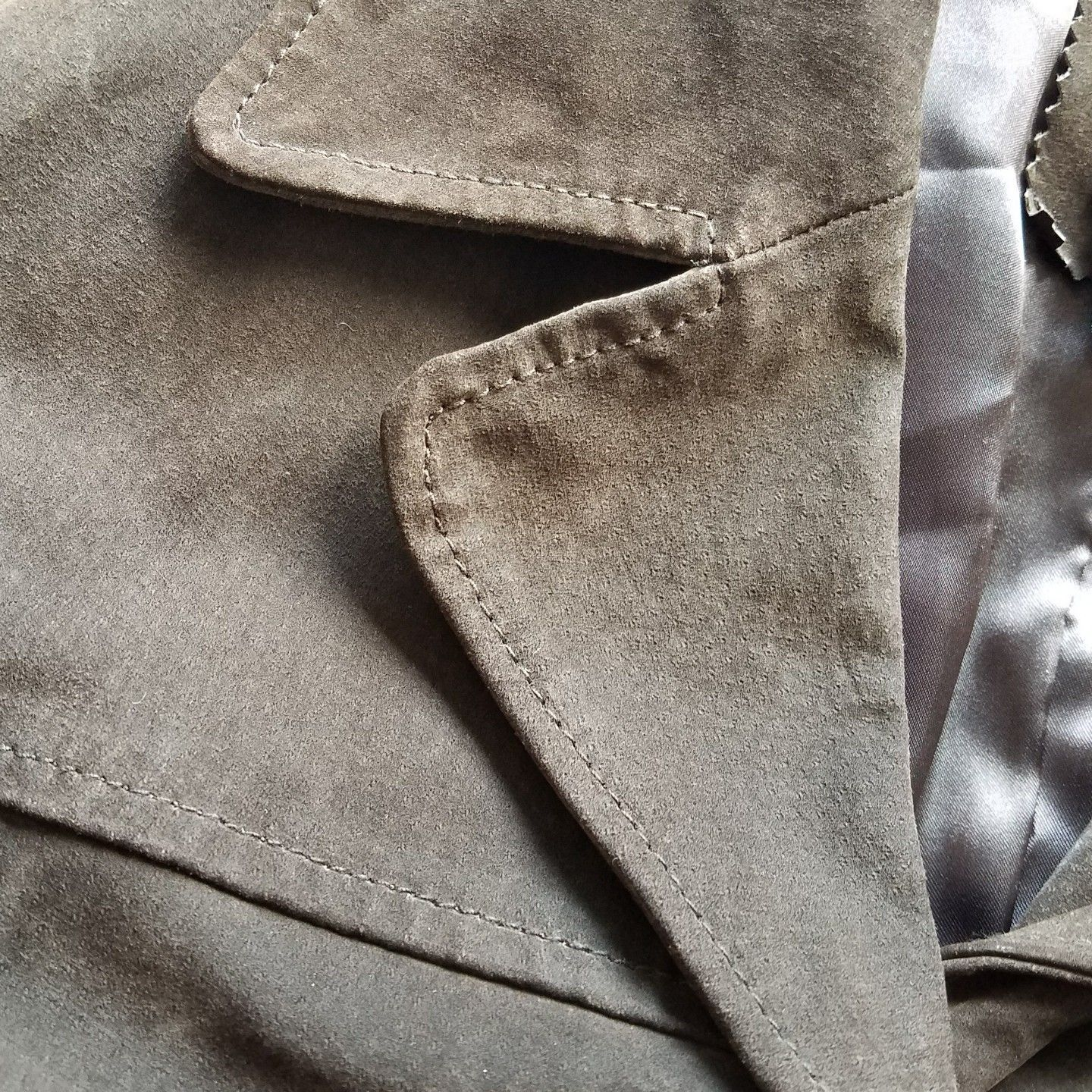 Brown Leather Coat Long Sleeve Buttons Down Front Colebrook & Company Size L