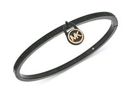 "Michael Kors 6.5"" Pavé Logo Lock Bangle Bracelet Black MSRP $125 - $46.53"