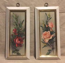 Vintage Turner Wall Accessory framed roses prints 1950s wall art set of 2 - $16.00