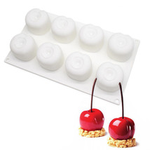 8 Hole White Cherry Mousse Silicone Mold,Chocolate Cake Decoration DIY T... - ₨755.90 INR