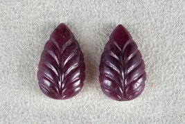 NATURAL UNTREATED RUBY CARVED LEAVES PAIR 48.80 CTS GEMSTONE DESIGNING E... - $630.80