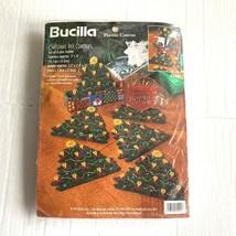 Bucilla Christmas Tree Coasters Plastic Canvas Kit Set of 6 1997 Unused Holiday - $14.84