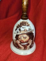 Emmett Kelly Jr Flambro Clown  Bell  wood handle 9743 Bone China - $15.67