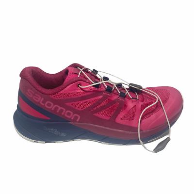 Salomon Womens Sense Ride Trail Running Shoes Pink 406122 Bungee Lace Up Mesh 7M - $32.66