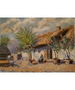 Signed Peter Egeghy - Old Hungarian Farmhouse - Original Vintage Art Pai... - $627.61