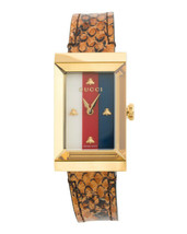 NEW Gucci Women's Swiss G-Frame Bright Cuir Ayers Leather Strap Watch 21x40 mm - $890.01