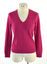 Fuchsia Soft Plush 2 Ply Cashmere Cable Knit V Neck Sweater Jumper Shirt... - $18.80