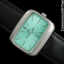 1970's OMEGA De Ville MensRetro SS Tiffany Blue Dial TV Watch - Mint with Warra - $1,367.10