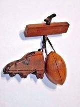 FOOTBALL & CLEAT DANGLE CARVED WOOD PIN VINTAGE 1950'S DETAILED SPORTS H... - $23.00