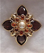 JOAN RIVERS 3D MALTESE CROSS PIN BROOCH Faux Gems - $139.95