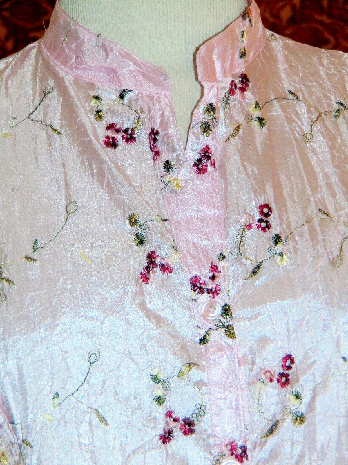 CLAUDIA RICHARD pink floral polyester 3/4 sleeve button blouse M (T43-04E9G) image 2