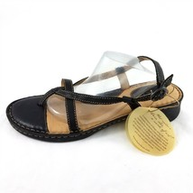 Born Black Leather Thong Style Sandals Shoes Buckle Womens 11 M - $35.49