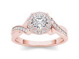 IGI Certified Solid 14K  Rose Gold 1.00 Ct Natural Diamond Halo Engageme... - $1,478.99
