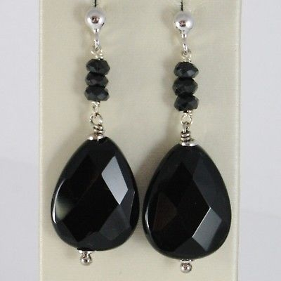 925 STERLING SILVER PENDANT EARRINGS WITH BLACK ONYX DROPS, 1.8 INCHES LONG