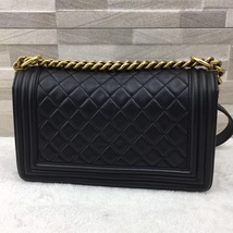 AUTHENTIC CHANEL PEARLY BLACK QUILTED LAMBSKIN MEDIUM BOY FLAP BAG GHW image 4