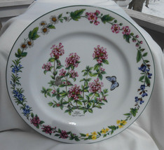 """ROYAL WORCESTER HERBS CHOP SERVICE PLATE PLATTER GREEN TRIM WILD THYME 12 1/8"""" image 1"""