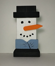 Handcrafted Folk Art Snowman Figure, Crafted from reclaimed wood - $15.77