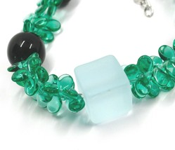 BRACELET GREEN BLACK MURANO GLASS BUNCH OF PETAL DROPS CUBE BALL, MADE IN ITALY image 2