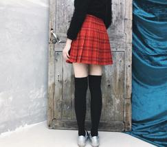 Wool-blend Red Plaid Skirt Women Girl Winter Plaid Skirt Outfit Plus Size Pleat image 3
