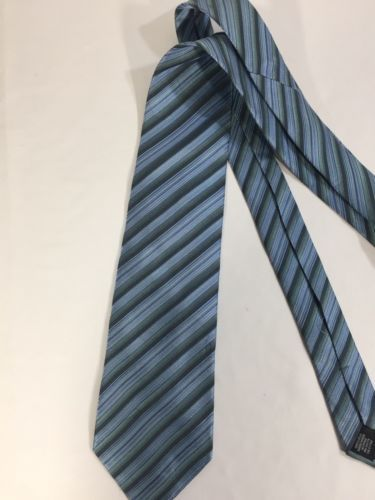 Alfani Men Light Blue Tie Silk Black Striped Size 58 Length 3 Inches width image 11