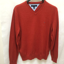 Tommy Hilfiger Mens XL Sweater Orange V Neck Long Sleeve Pullover New - $32.32