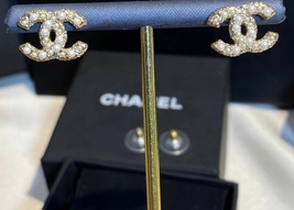 Authentic Chanel Classic CC Logo Crystal Pearl GOLD Stud Earrings  image 2