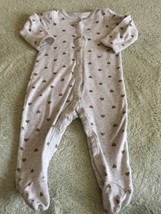 Carters Girls Heather Gray Gold Hearts Long Sleeve Pajamas 9 Months  - $4.00