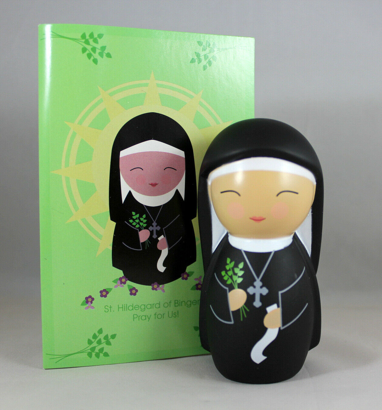 Primary image for Shining Light Doll St. Hildegard Bingen Collectible Vinyl NEW Story Prayer Card