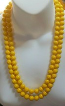 Vintage Richelieu Double Strand Bright Yellow Plastic Bead Necklace Pat.... - $31.68