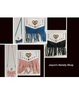 Western Faux Leather Fringe Purse Cross Body Choose Color Black Blue Pin... - $8.99