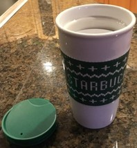 NEW Starbucks  White & Green Ceramic Coffee Cup With Guard Lid Tumbler 2016 - $28.98