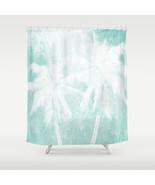 Shower curtains art shower curtain Design 54 Palm Trees Blue white L.Dumas - $68.99