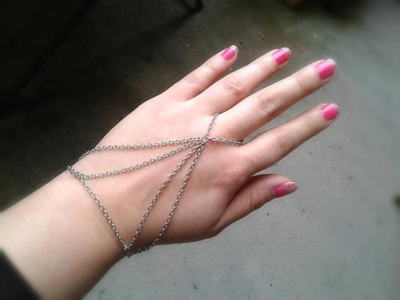 Harness slave bracelet silver hand chain boho slav