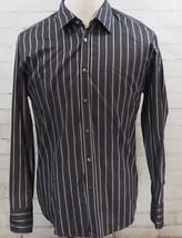 HUGO BOSS Men's Button Down Shirt Black/Gray/White Striped Cotton Career/Work XL - $38.61