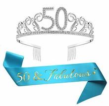 50th Birthday Tiara and Sash, Glitter Satin Sash and Crystal Rhinestone Crown Bi image 1