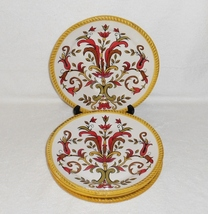 Pier 1 ORALIA Earthenware Salad Plates Flower and Scroll in Autumn Colors (4) - $25.89