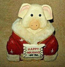 LARGE VINTAGE HAND CARVED PAINTED SIGNED JAMES HADDON 'HAPPY HOLIDAYS' PIG  - $39.99