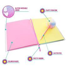 GirlZone: Glitter Rainbow Notebook and Pom Pom Pen Gift Set for Girls image 5