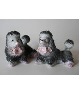 Vintage Made in Japan Small Grey Poodle Figurines S/2  Woolworth Sticker... - $26.00
