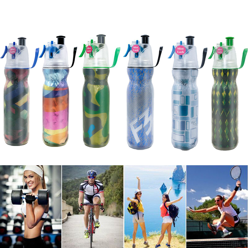 Drinking and Mist Spraying 2-in-1  Double Layer Cold Keeping Sport Bottle 590ml  - $39.00
