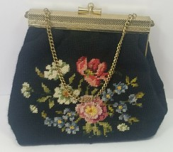 Vintage Tapestry Purse Floral Hand Bag Intricate Metal Frame Wooden Bottom - $37.74