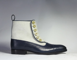 Handmade Men's White and Blue High Ankle Two Tone Buttons Dress/Formal Leather & image 3