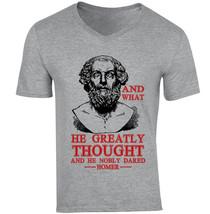 Homer Nobly Dared Quote - New Cotton Grey V-NECK Tshirt - $20.75