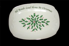 "Lenox ALL ROADS LEAD TO CHRISTMAS Embossed Gold Trim Berries Platter 14""... - $34.99"