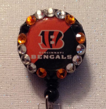 Nfl Cincinnati Bengals Badge Id Holder Swarovski Crystals Orange Handmad... - $10.99