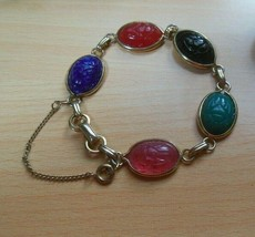 Vintage Signed Coro Colorful Scarab Bracelet - $24.74