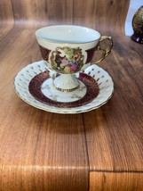 Demitasse Cup and Saucer, Made in Japan for Enesco, Stunning Burgandy wi... - $20.00