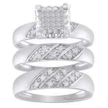 0.46 Carat Round Diamond 10k White Gold Finish Bridal Trio Set Engagemen... - $174.00