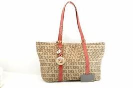 FENDI Zucchino Canvas Tote Bag Brown Red Auth 8269 - $398.00