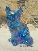 FENTON  ART GLASS CELESTE BLUE CARNIVAL SITTING CAT FIGURINE - $55.00